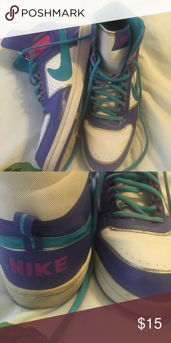 Multicolor Nike hi tops Used Nike hi tops. Super cut. Could use some cleaning. Nike Shoes Sneakers