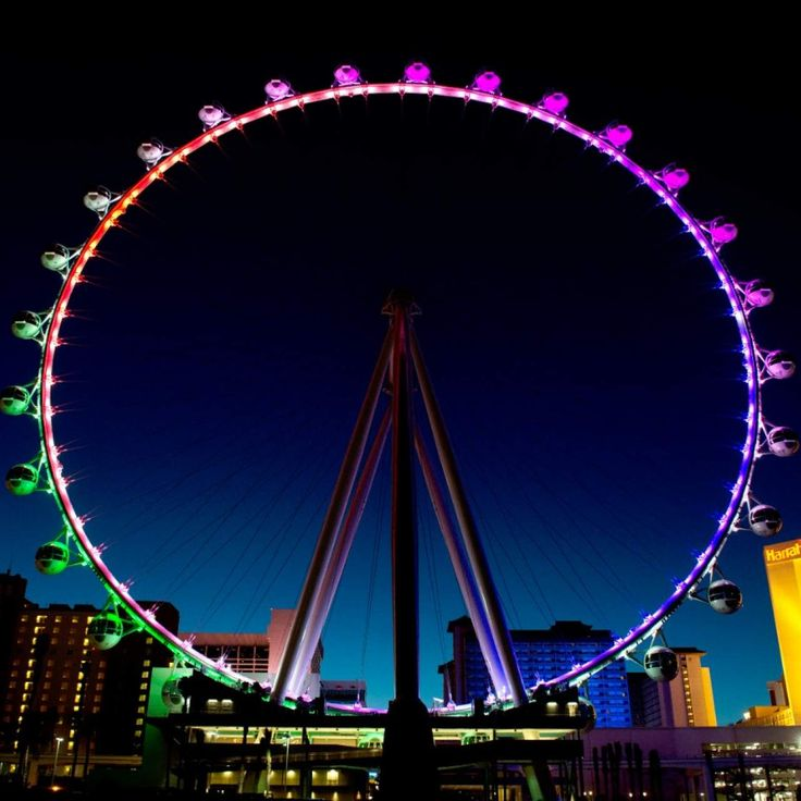 Running parallel to Vegas Boulevard, the High Roller observation wheel at  The LINQ Hotel & Casino features glass-enclosed cabins with views of The  Strip.
