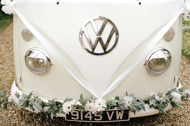Best wedding transport ever?! Cream VW campervan.