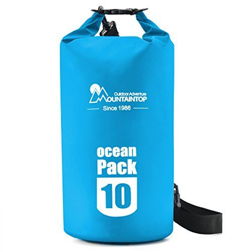 Mountaintop 10L25L Waterproof Dry Bag Floating Gear Bags for BoatingKayakingFishingBeachRaftingSwimmingCampingCanoeing and Snowboarding with 2 Shoulder Straps Light Blue 10L *** Want to know more, click on the image.