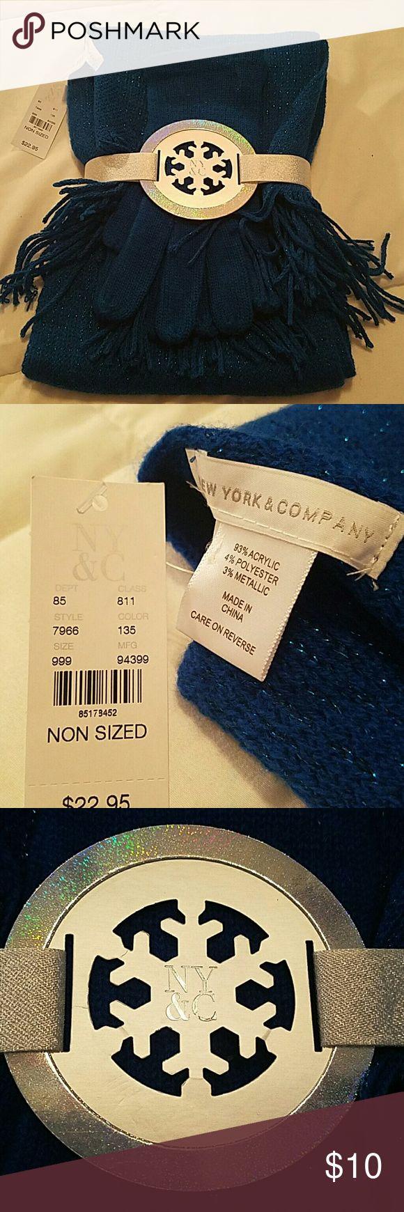 new york & company glove scarf set blue metallic New scaffolding and gloves set/ blue New York & Company Other