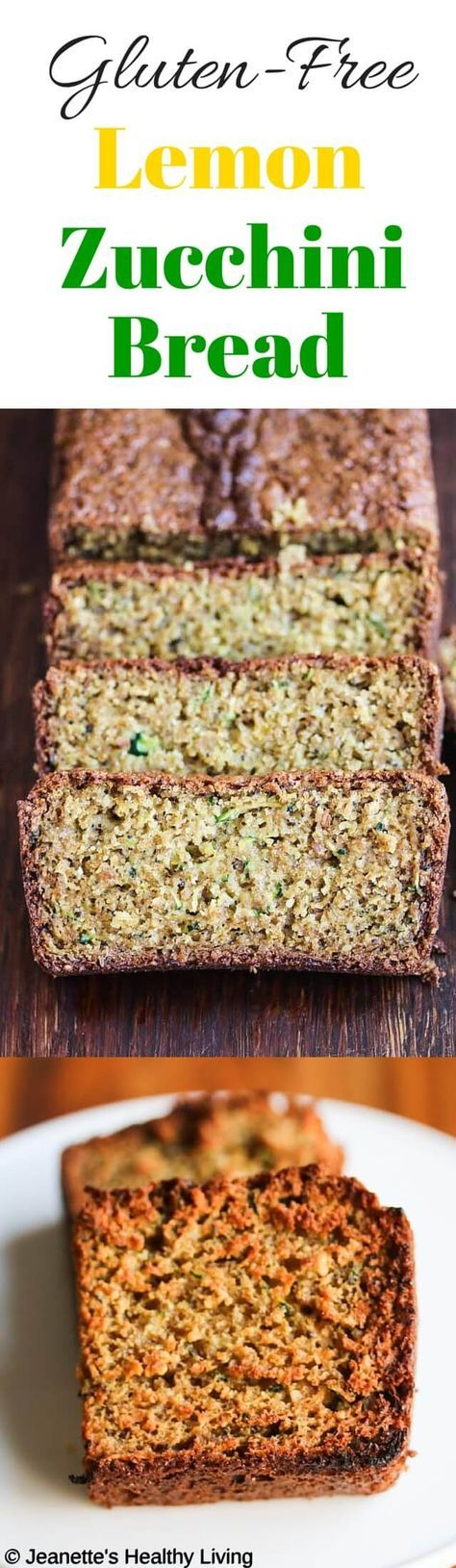 Gluten Free Lemon Zucchini Bread - this beautifully scented quick bread makes a healthy snack or breakfast bread. Made with almond flour, oat flour and flax seeds, it's nutritious and delicious. ~ http://jeanetteshealthyliving.com