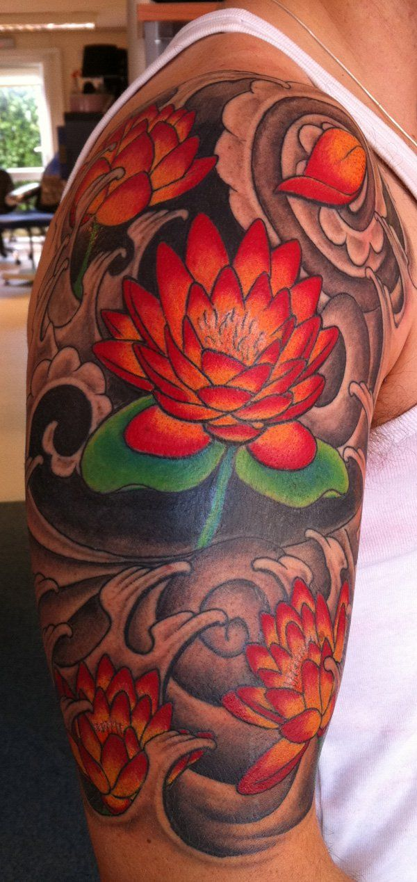 Japanese lotus tattoo, coverup - 50 Elegent Lotus Tattoo Designs