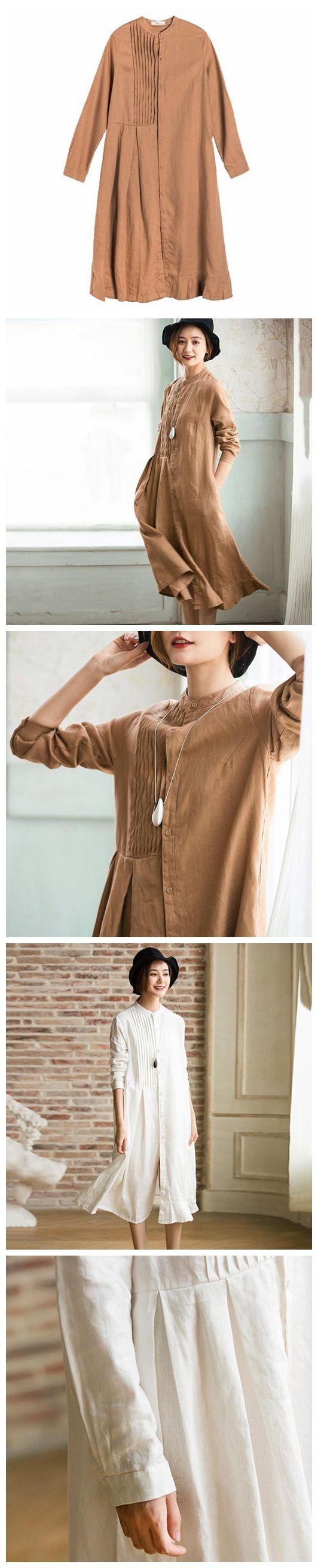Long Sleeve Casual Cotton Linen Dresses Women Clothes  Q1971
