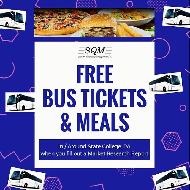 Free Meals & Free Bus Tickets in and around Penn State University, Centre County, and at State College Pennsylvania when you fill out a market research report on the dining/bus experience. It's FREE to sign up: www.sqm.ca/welcome ☀️    PSU, Penn State, PA, Pennsylvania State University, Nittany Lions, Happy Valley, the borough