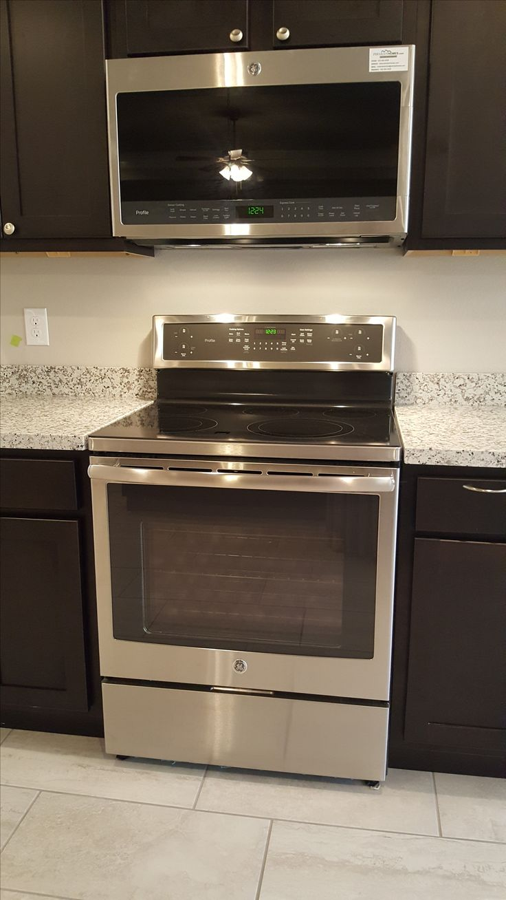 """GE's Profile series smooth top electric range and OTR microwave, featuring """"Chef Connect"""" bluetooth technology!"""