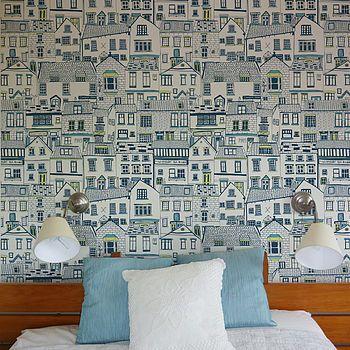 I'm kinda digging this - Coastal Cottages Wallpaper via NotOnTheHighStreet