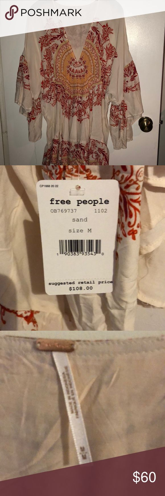 Free People sand Vneck butterfly sleeve M-NWT Beautiful v-neck shirt with butter…