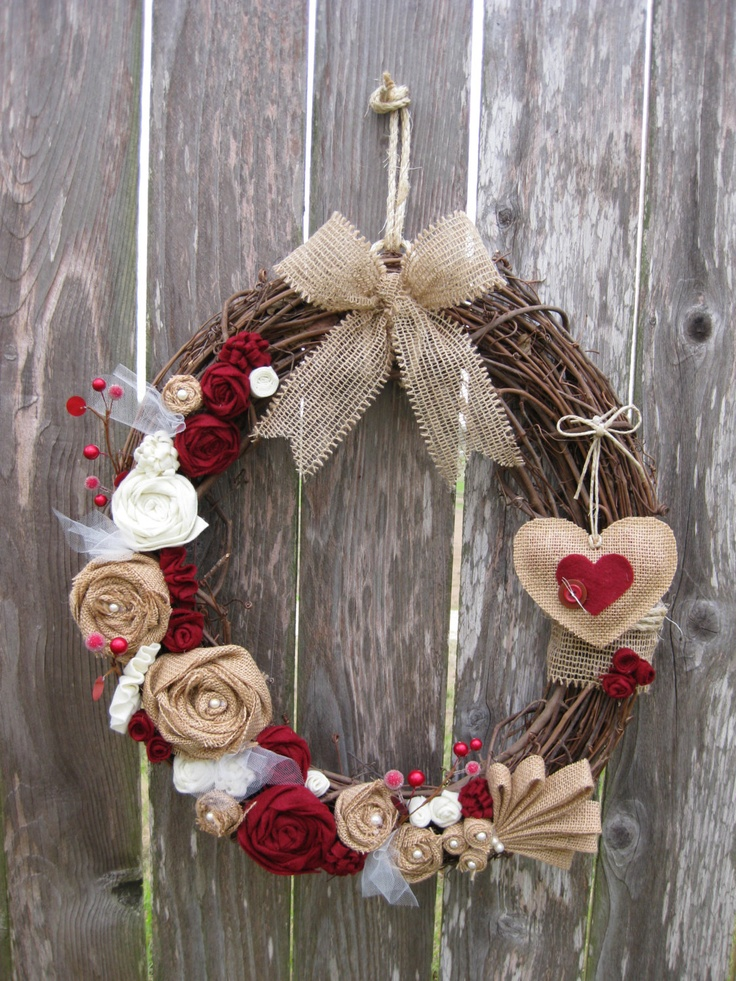 Valentine's Day Wreath Sweetheart's Wreath by rosepetalpretties