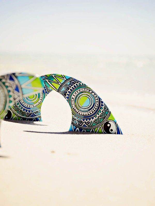 Surfboard fins – Green Mandala – by Finatics ~ RRP $95. Make your board stand out from the rest with these unique surfboard fins hand painted by the talented Shannon Bawden.