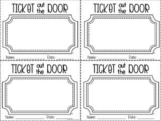 1st Grade Fantabulous: A Little Bit of This and That- Ticket Out the Door Templates