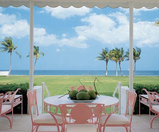 Palm BeachFlorida Beach, Palms Beach, Beach Home, Palm Beach, Palmbeach, Beach Style, Patios Sets, Pink, Outdoor Spaces