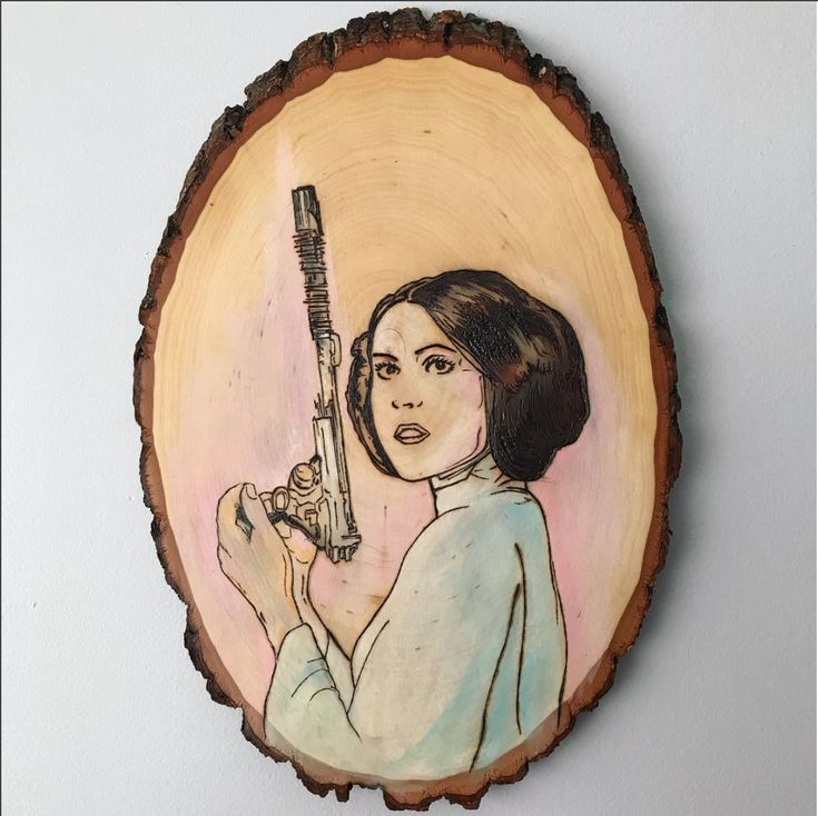 Princess Leia Organa wood burning and painting.   Star wars artwork