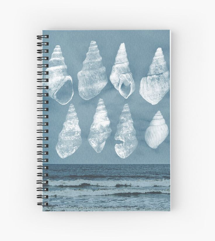 Calming ocean waves and sea shells spiral notebook. • Also buy this artwork on stationery, apparel, phone cases, and more.