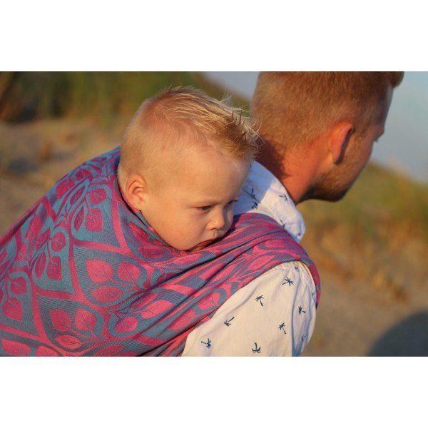 Porte-bébé écharpe tissée Yaro La Vita Fuchsia Blue Glossy Soft Hemp