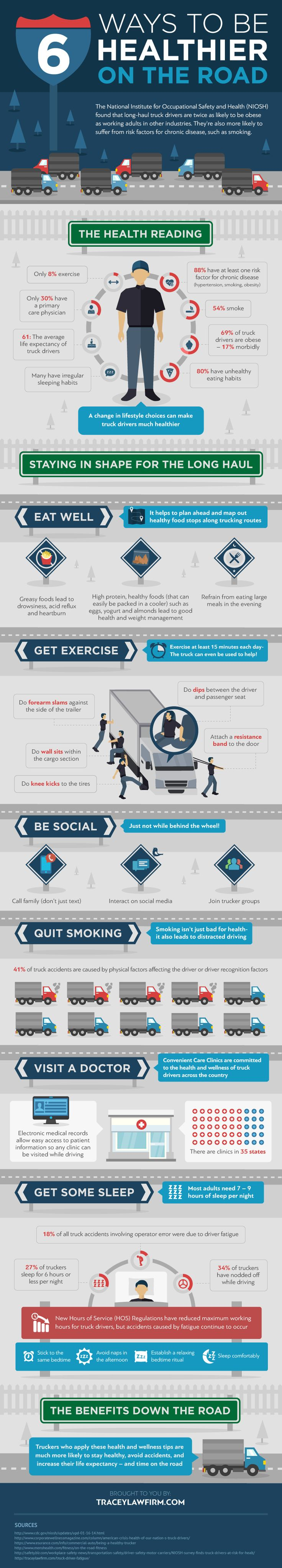 The truck driving life infographic healthy truck driver