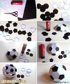 Balón Fútbol de papel. Recorta y pega   http://papelisimo.es/balon-futbol-de-papel-recorta-y-pega/
