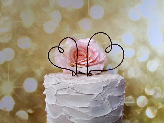 Two Hearts Wedding Cake Topper  Shabby Chic Wedding by AntoArts