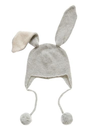 Baby knit bunny ear beanie. Featuring oversized bunny ears and pom pom tie. Cotton.One size.