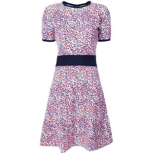 Carolina Herrera impressionist dot skater dress ($1,690) ❤ liked on Polyvore featuring dresses, red, short red dress, red flared skirt, red dress, red skater dress and long-sleeve skater dresses