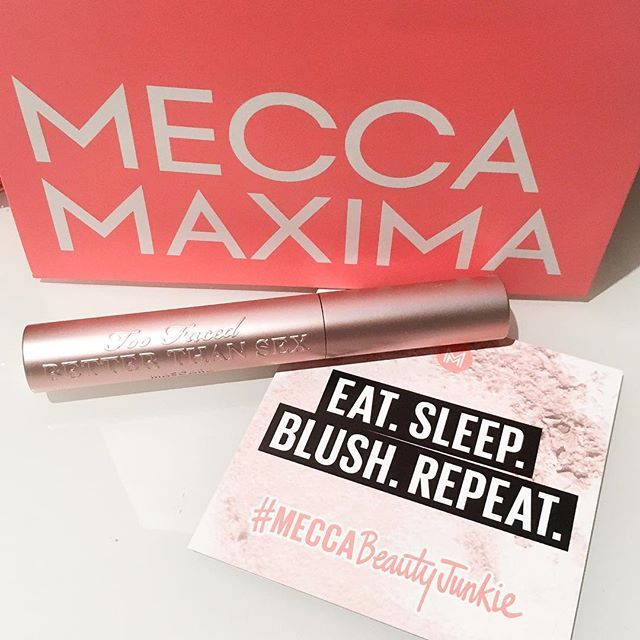"""""""Mid-exam period pick me up... Best mascara ever tbh @meccamaxima #meccabeautyjunkie @toofaced #toofaced #betterthansex #mascara"""" Photo taken by @laurajf_ on Instagram"""
