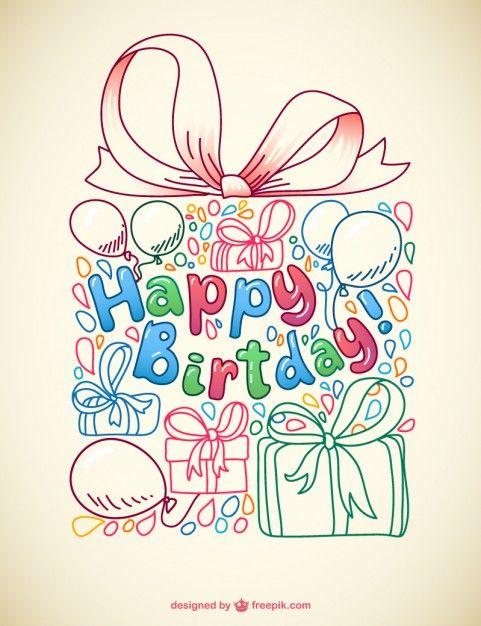 Vector doodle birthday card Free Vector