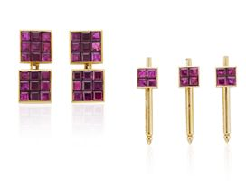 VAN CLEEF & ARPELS MYSTERY SET RUBY AND GOLD DRESS SET