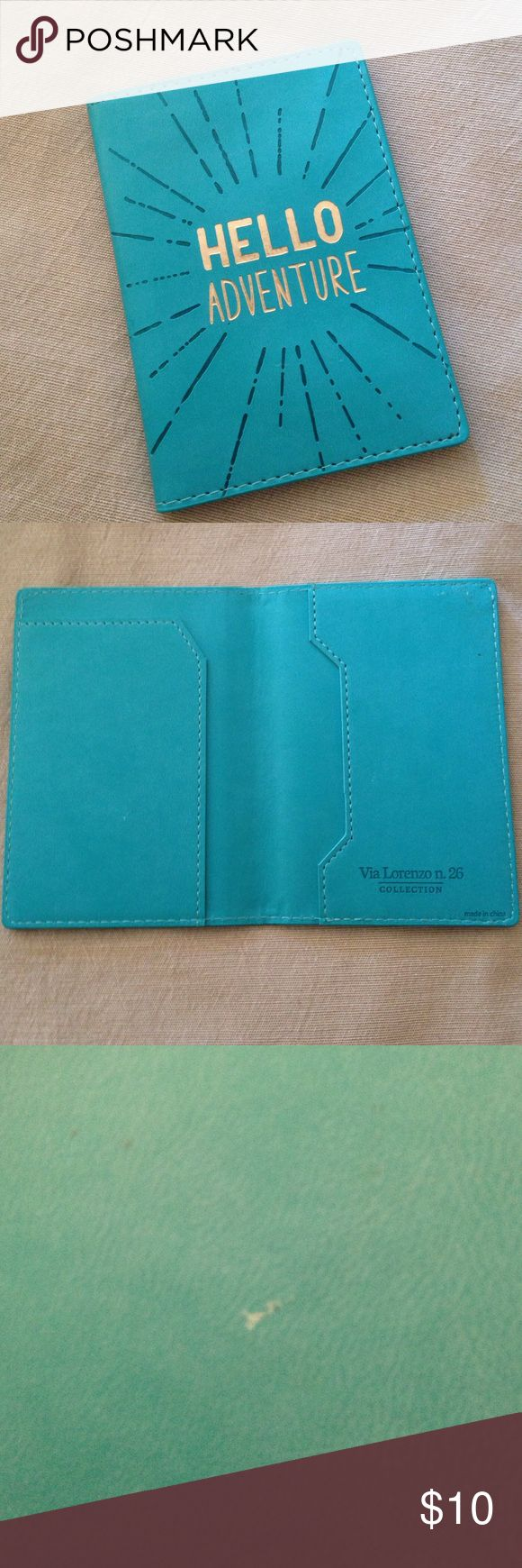 Fun passport case Pretty aqua blue and gold faux leather passport case! Used once. Small marks on the interior shown. These aren't very noticeable and are from the TSA who did my precheck number (thanks guys!). Getting rid of this because my husband got me a Mulberry case for my birthday! Via lorenzo collection Accessories