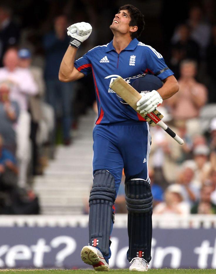 Alastair Cook (Eng) reaches his 100 vs West Indies, 2nd ODI, The Oval, June 19, 2012
