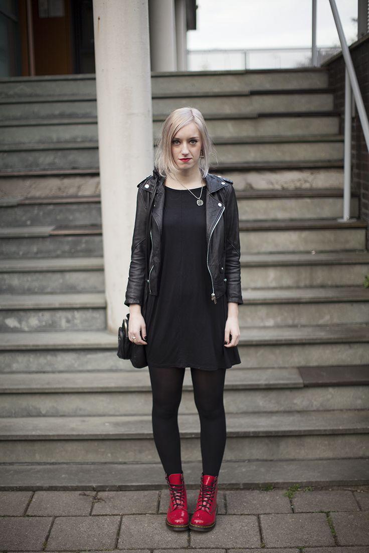 Black dress with red bag - Biker Jacket Bershka Dress Monki Necklace Blink 182 Donna Bag Alexander Wang