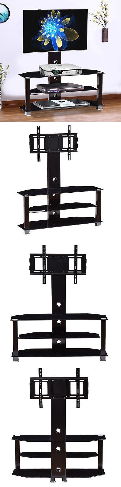 Entertainment Units TV Stands: Tv Stand Rack Console 3 Glass Shelves Storage Entertainment Media To 60 Screen -> BUY IT NOW ONLY: $72.99 on eBay!