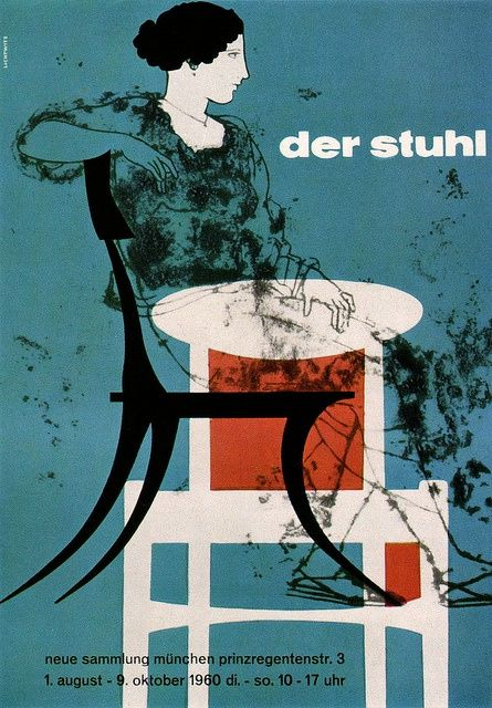 Poster for an exhibition The Chair 1961  Friedemann Lichtwitz illustration