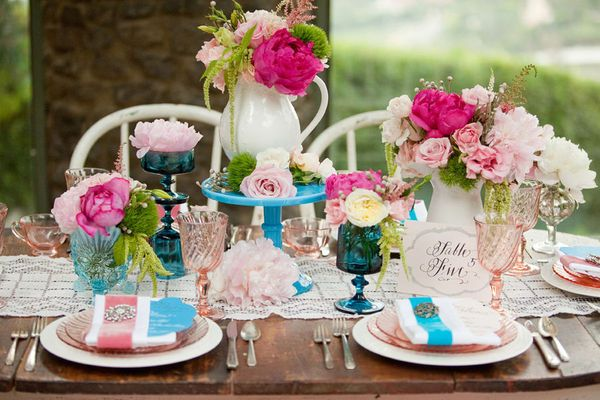 #Pink #Turquoise #Centerpiece #Whimsical Wedding photo source withlovefromkat.com shop wedding flowers and wedding decorations www.afloral.com: Tables Sets, Color, Wedding, English Gardens, Pink, Parties Ideas, Centerpieces, Tables Decor, Flower
