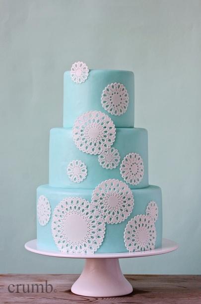 Tiffany blue wedding cake by Crumb