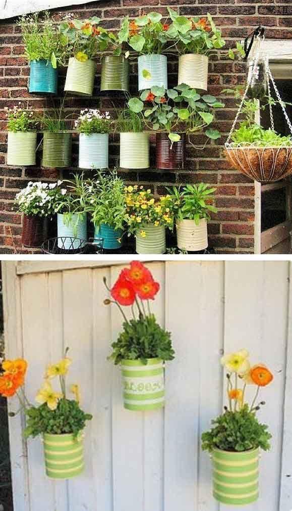 Jardines colgantes hechos con simples latas reciclar for Jardines en lata
