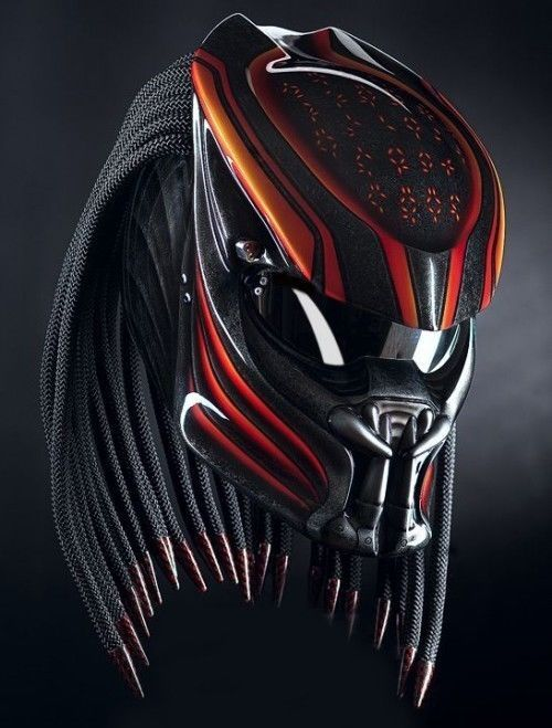 THE ALIEN PREDATOR HELMET CUSTOM STREET FIGHTER DOT APPROVED #CELLOS #Predator