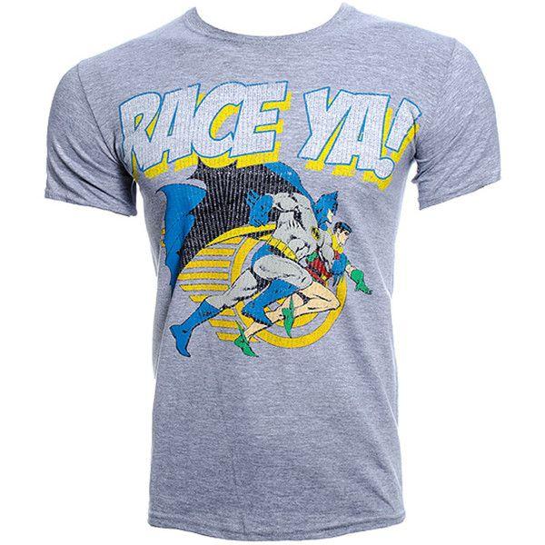 DC Comics Batman Race Ya T Shirt (Grey) (83 BRL) ❤ liked on Polyvore featuring costumes, cartoon halloween costumes, dc comics costumes, super hero halloween costumes, superhero halloween costumes and comic costumes
