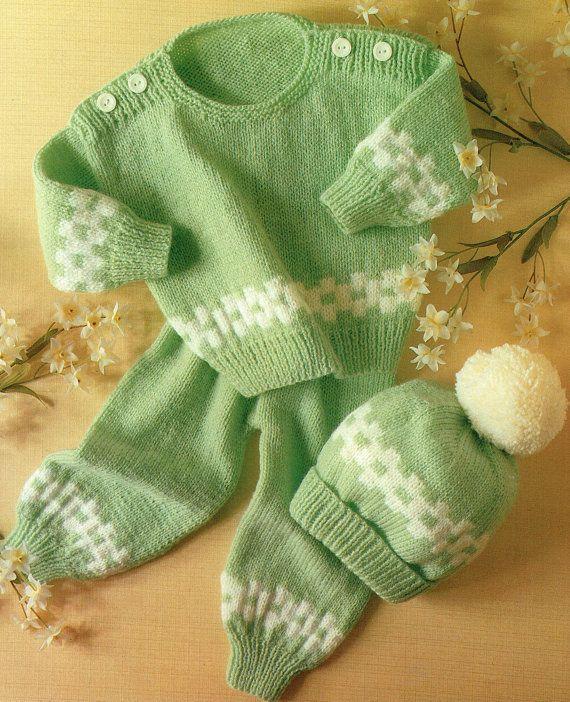 Vintage LOWETH 643 Baby Pram Set Knitting Pattern, Toddler, Leggings, Pull Ups, Bobble Hat, Fair Isle, Traditional, Classical, Cutex