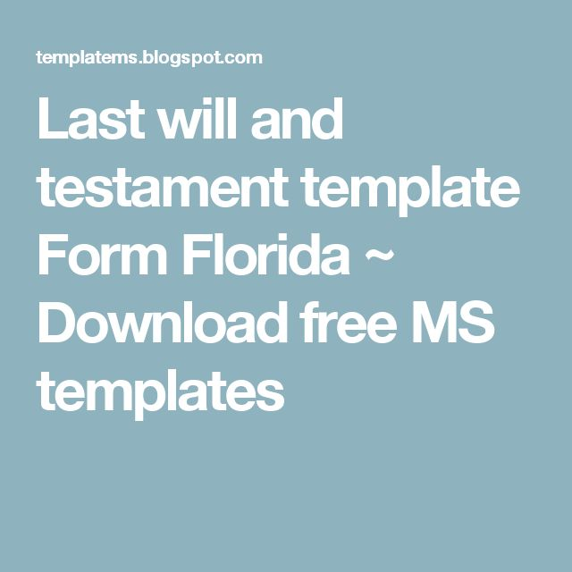 Last will and testament template Form Florida ~ Download free MS templates