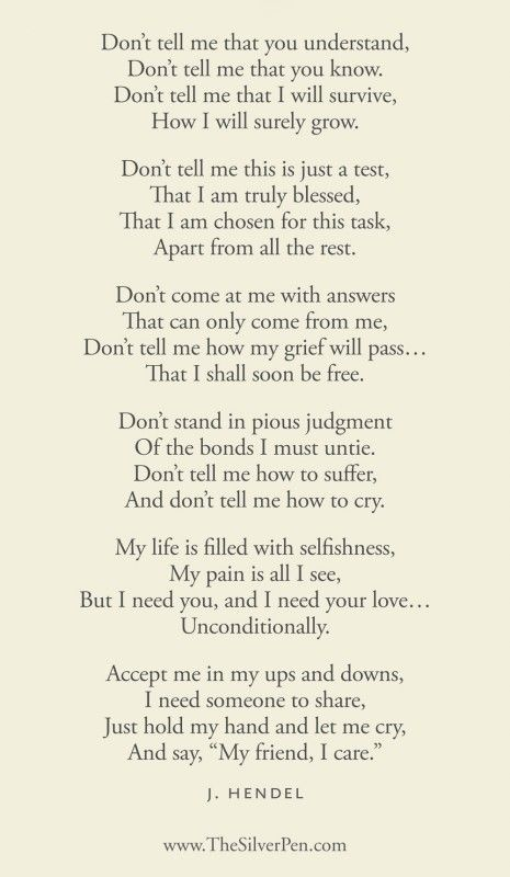 """A poem about grief. Very powerful. And very true."" Hmmmm thought provoking ... how patient and truly caring are we to those who are grieving?"
