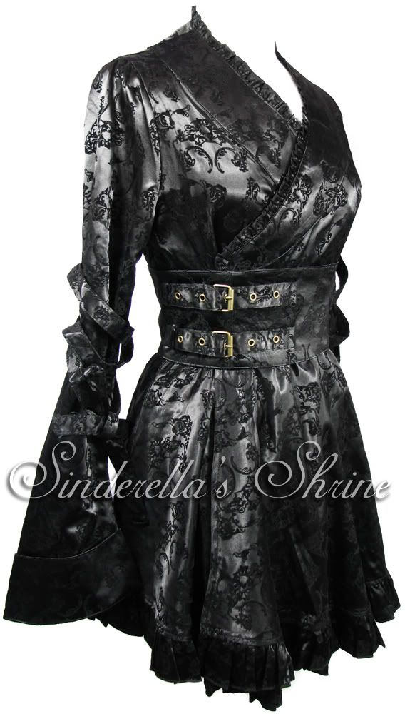 Black HELL BUNNY ~ViCToRiaN KiMoNo~Satin Japanese Steampunk Mini Dress