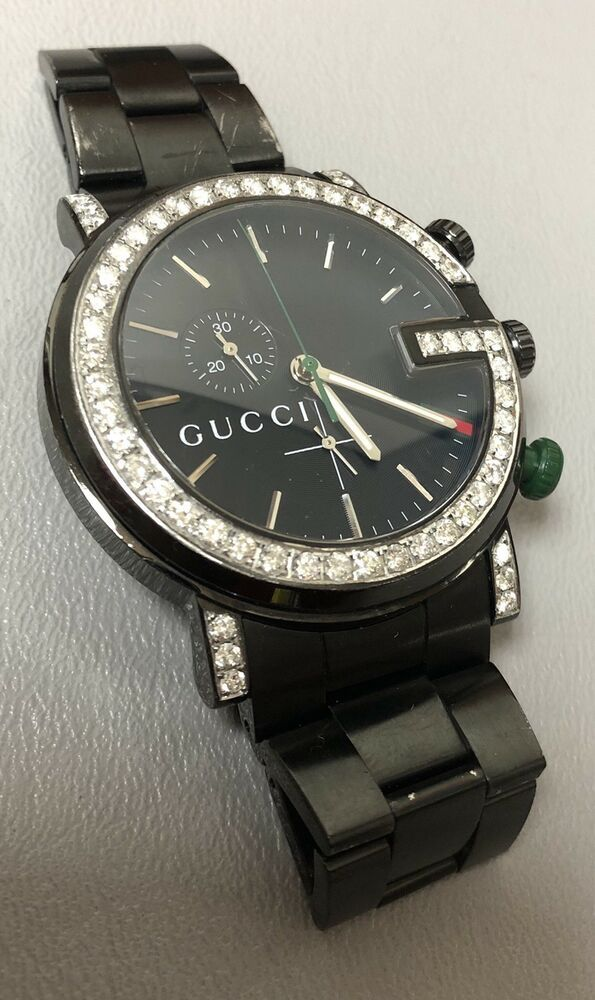 598a5138eab Men s Gucci 101M Chrono Stainless Steel 1.84ct Diamond Bezel Black Watch  44mm