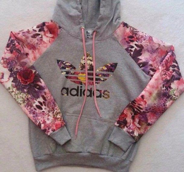 sweater adidas hoodie floral grey