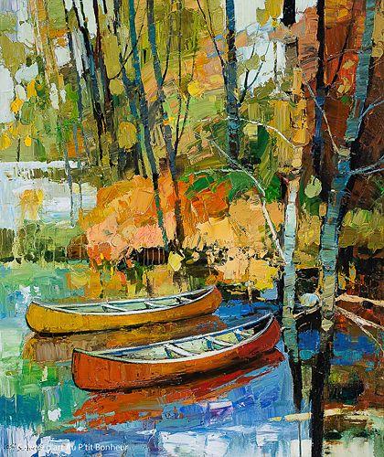 Iosif Derecichei, 'On The North Side Of The Lake', 40'' x 48'' | Galerie d'art - Au P'tit Bonheur - Art Gallery