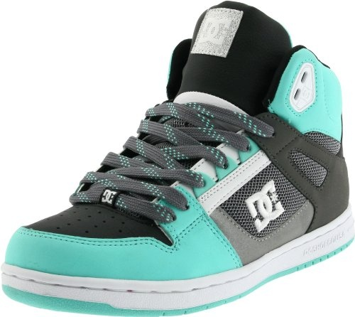 $70.00-$70.00 DC Women's Rebound Hi Sneaker,Black/Cockatoo,5 M US - Defeat is never an option when you're rockin' the DC Shoes Rebound Hi skate shoe.  Leather upper in a high-top technical skate shoe style with a round, perforated toe.  Colorful overlays, patterned fabric inlays and DC logo accents add retro-style pizzazz, dual medial side eyelets, stabilizing lacing overlays, high rise padded col ...
