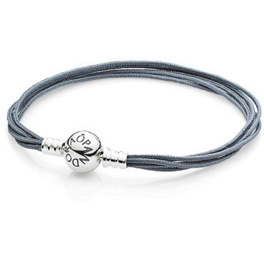 Multi-Strand Grey Cord Bracelet - This sterling silver, five-strand, grey fabric bracelet is a neutral color, representing reflection and humanity. These versatile multi-strand bracelets can be worn with or without charms for a unique look.