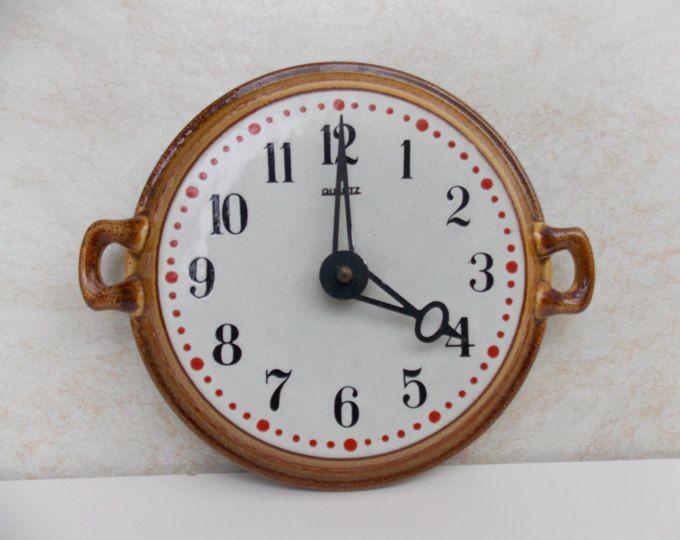Vintage Germany wall clock / quartz kitchen clock / Made in Germany / ceramic Clock / Brown wall clock / Home decor / wall decor / plate