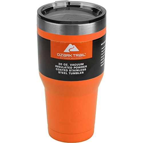 Ozark Trail Orange 30oz. Vacuum Insulated Powder Coated Stainless Steel Tumbler. For product & price info go to:  https://all4hiking.com/products/ozark-trail-orange-30oz-vacuum-insulated-powder-coated-stainless-steel-tumbler/