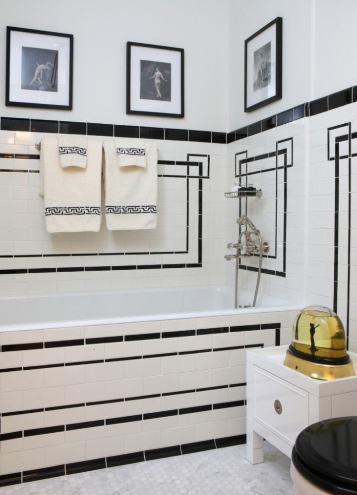 Similar To Tile Design I Have In Mind (not Front Of Tub) But Toned Down.  Jessica Lagrange Interiors: Art Deco Bathroom With Drop In Tub And Vintage  White ... Part 88