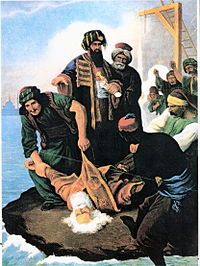 Image shows: corpse of Patriarch Gregory V of Constantinople into the Bosphorus. The Constanintople Massacre of 1821 was orchestrated by the Ottoman Empire against the Greeks of Constantinople in retaliation for the outbreak of the Greek War of Independence (1821-1830). As soon as the first news of the Greek uprising reached the Ottoman capital, there occurred mass executions, pogrom-type attacks,[1] destruction of churches, and looting of the properties of the city's Greek population.[2][3]